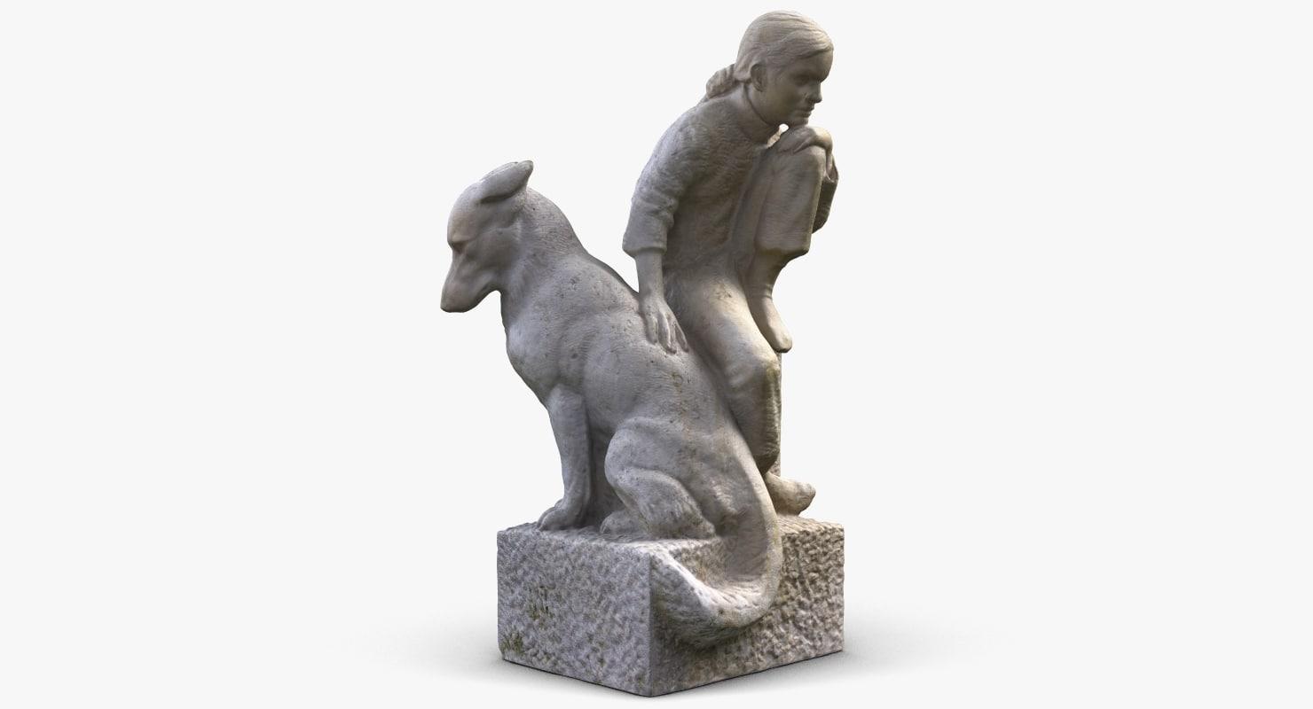 sculpture girl dog 3d model