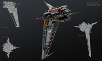 3d spaceship vertical model