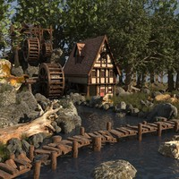 3d cartoon watermill house