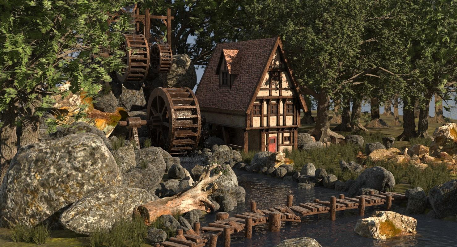 3d cartoon watermill house model