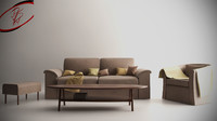 3d model of livingroom furniture sofa