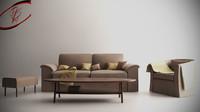 3d model of livingroom furniture sofa
