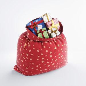 3d model santa s bag gifts