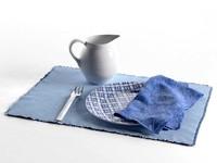 3d model napkins fork pitcher plate