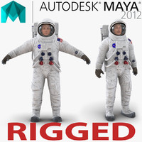 Astronaut NASA Wearing Spacesuit A7L Rigged for Maya