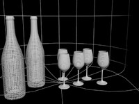 wine glass bottle 3d model