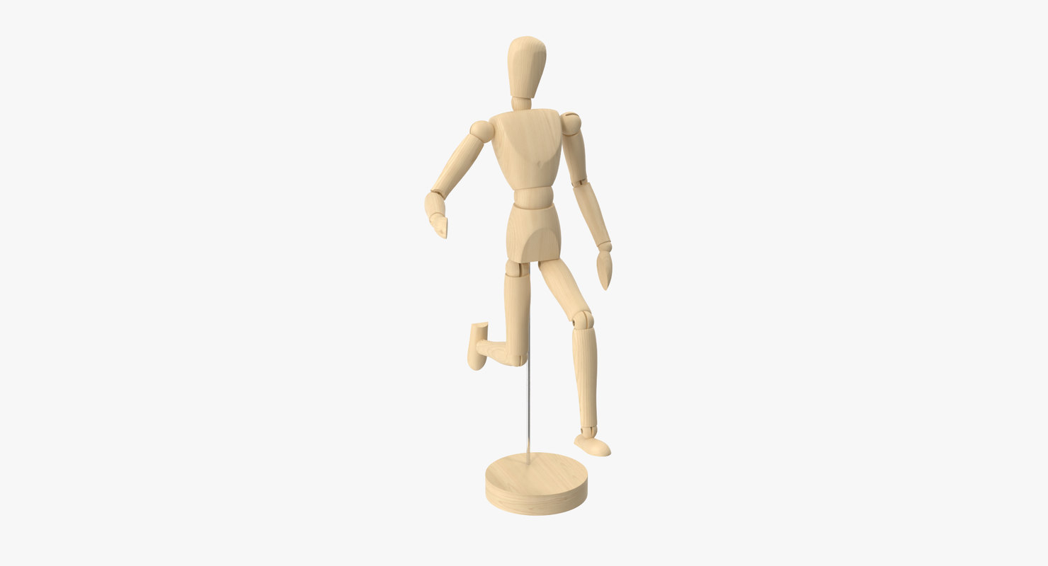 3d model wooden mannequin 01