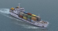 3d model of small cargo container ship