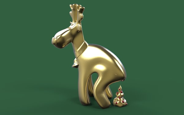 3d model of christmas deer printing