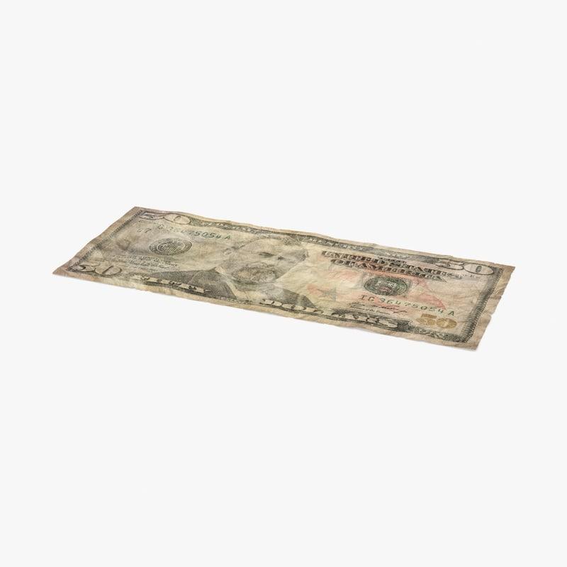 50 dollar bill distressed 3d max
