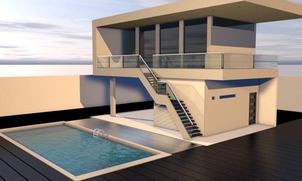 casa minimalista 3d c4d