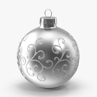 silver swirls ornament 3d model