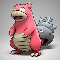 slowbro pokemon 3d obj