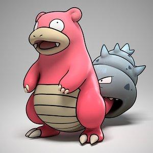 slowbro pokemon 3d obj
