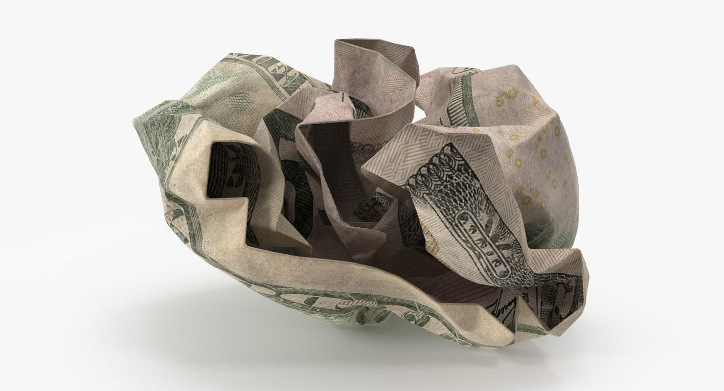 dollar bill crumpled ball 3d max