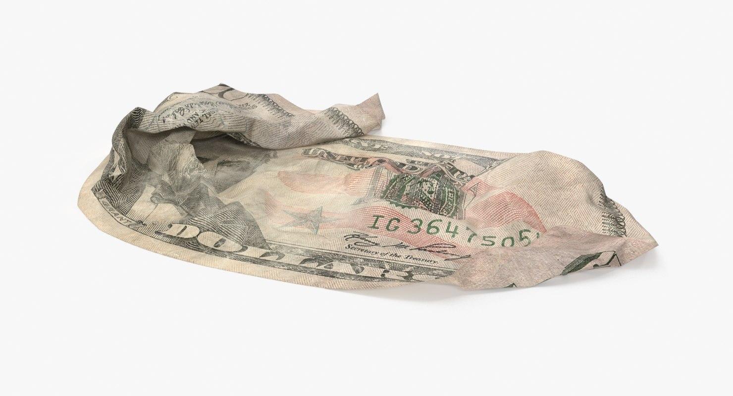 3d model 50 dollar bill crumpled