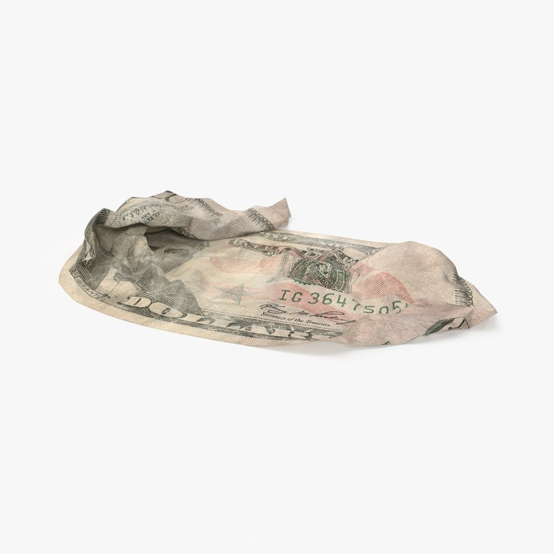 3d model 50 dollar bill crumpled