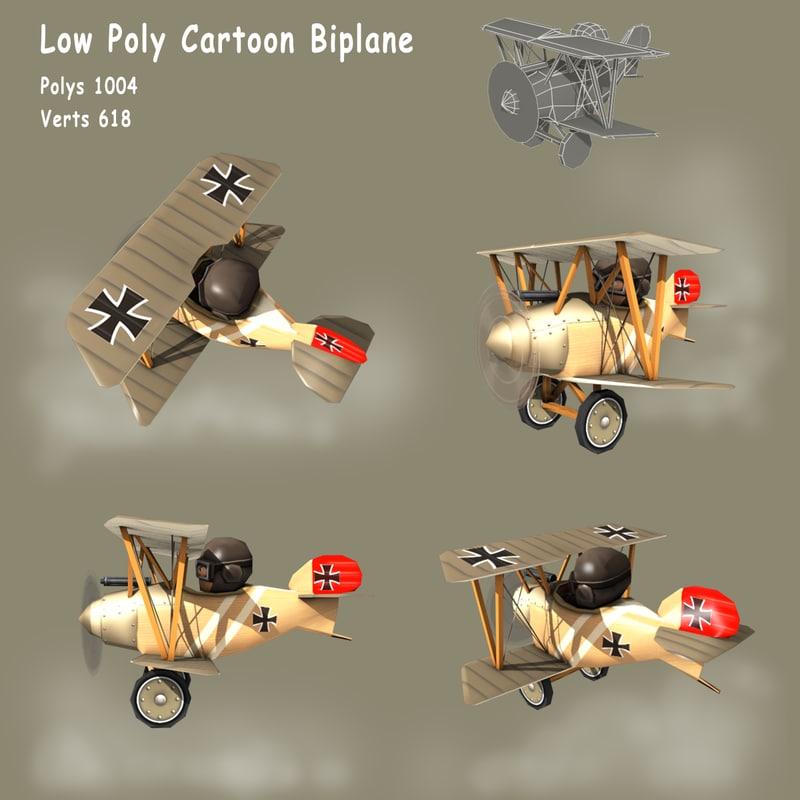 cartoon ww1 biplane fighter 3d 3ds