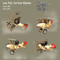 Low poly WW1 Cartoon Biplane