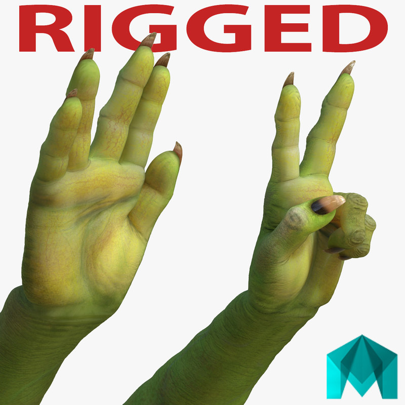 3d model green orc hands rigged