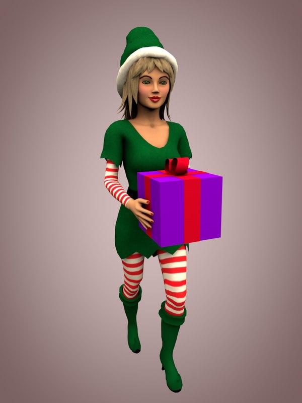 3d model christmas elf girl