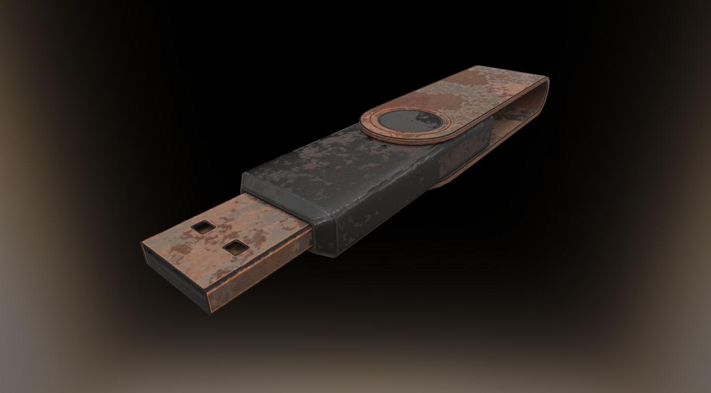 version usb stick rusty 3d 3ds