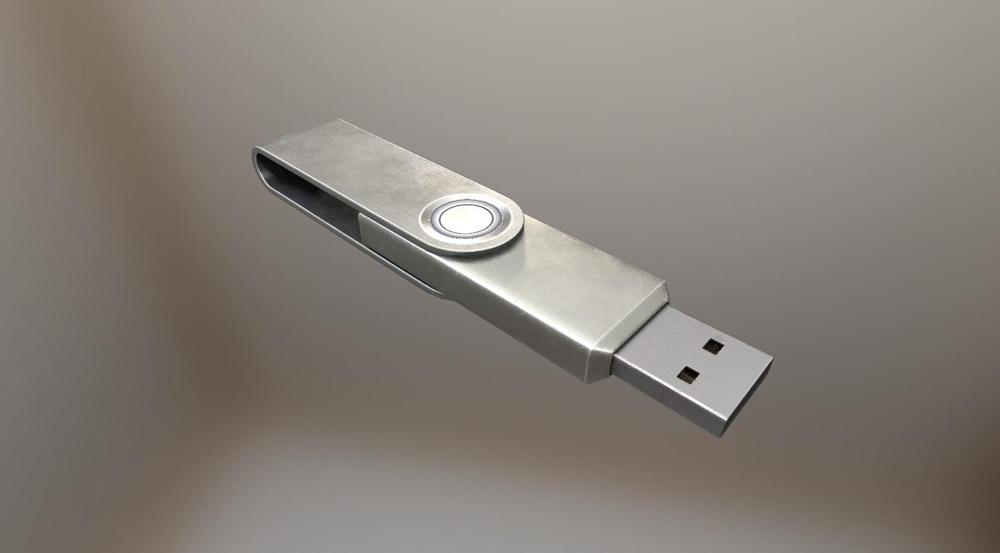 3d version usb stick aluminium model