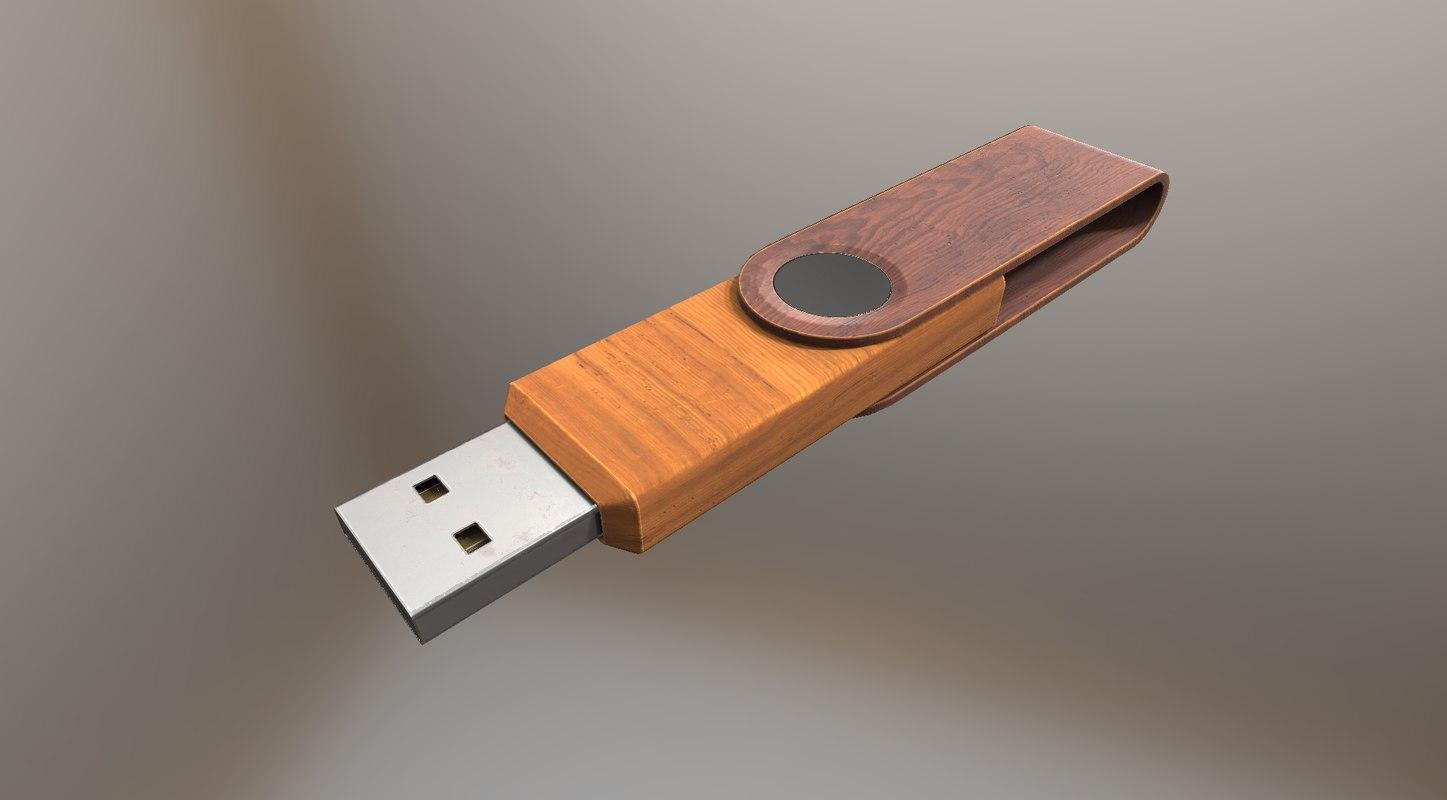 version usb stick wood 3d dxf