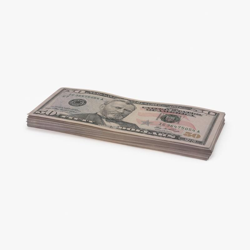 3d 50 dollar bill stack model
