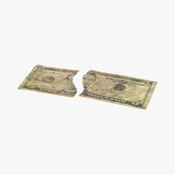 3d 5 dollar bill torn model
