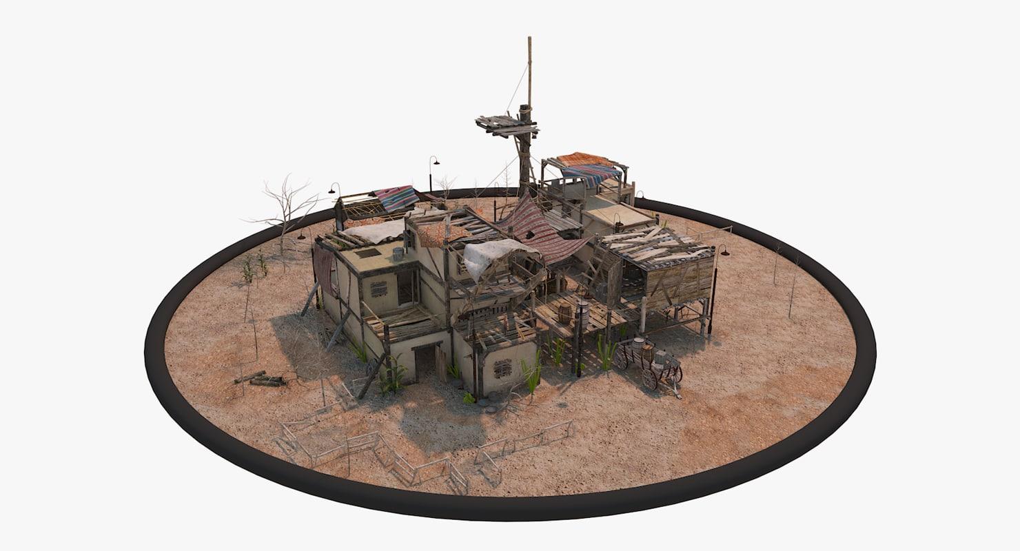 Old pueblo house 3d model for How to build a model pueblo house