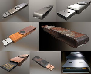 3d usb-stick pbr high-poly