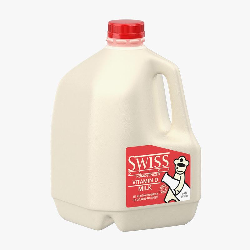 milk gallon plastic jug 3d max