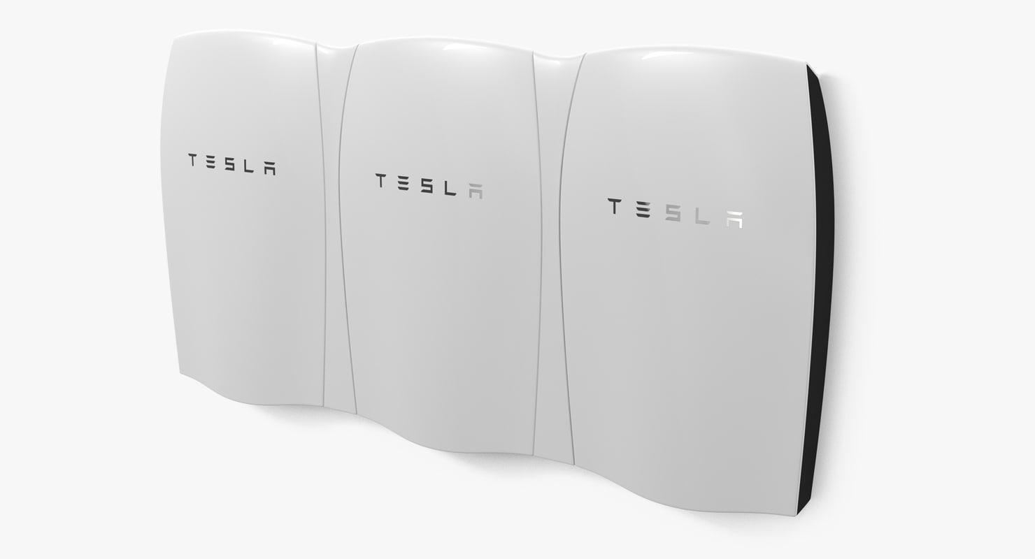 3d tesla powerwall triple unit