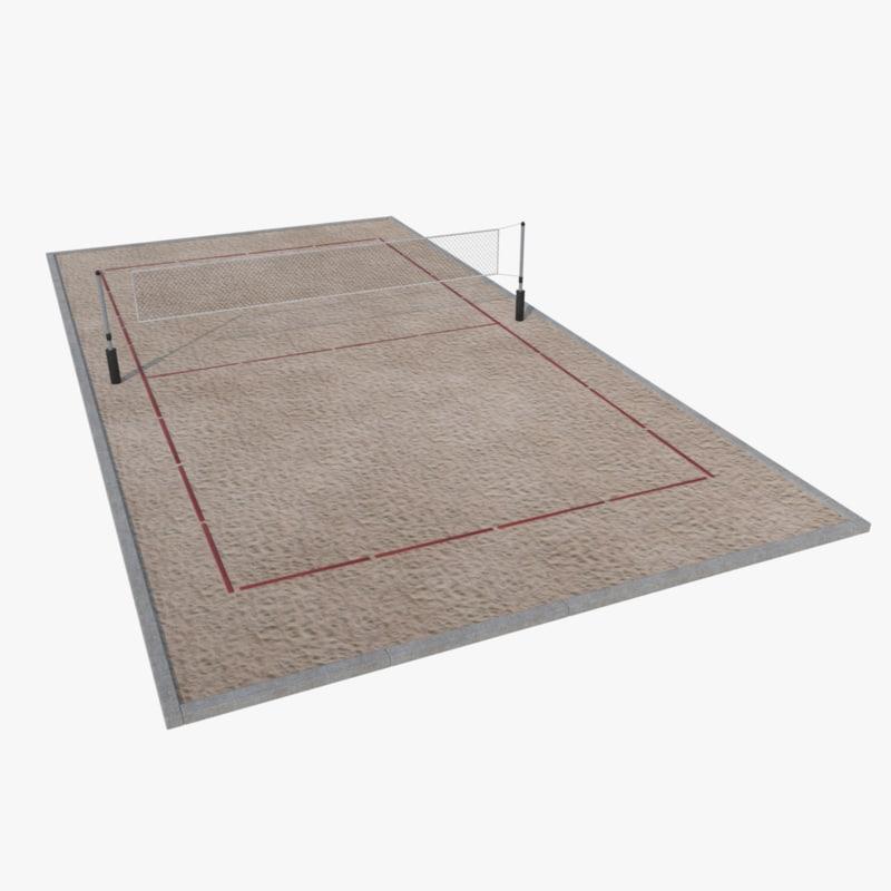 volleyball court 3d obj