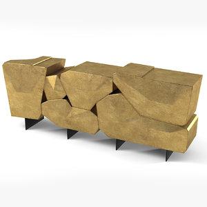 3d model bat eye stone sideboard