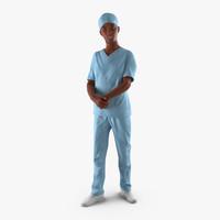 3d afro american nurse rigged model