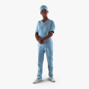 3d afro american nurse rigged model