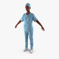 3d afro american nurse
