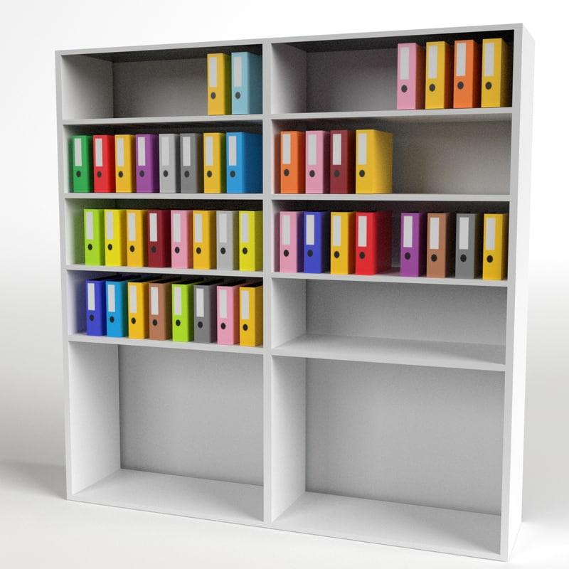Office Shelf Ring Binder 3d Model