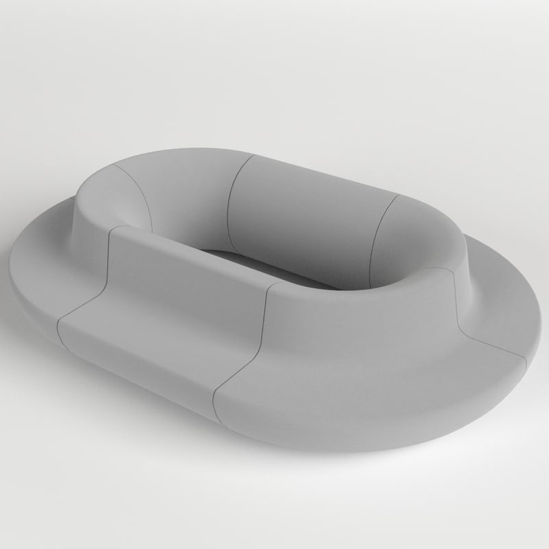 oval couch sofa 3d fbx