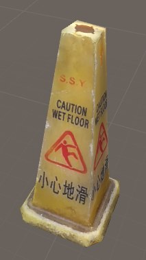 photorealistic wet floor sign 3d model
