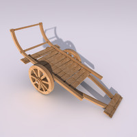 Low Poly Wooden Wagon Cart Chariot