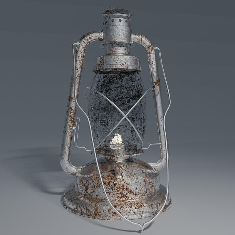 3d old paraffin lamp model