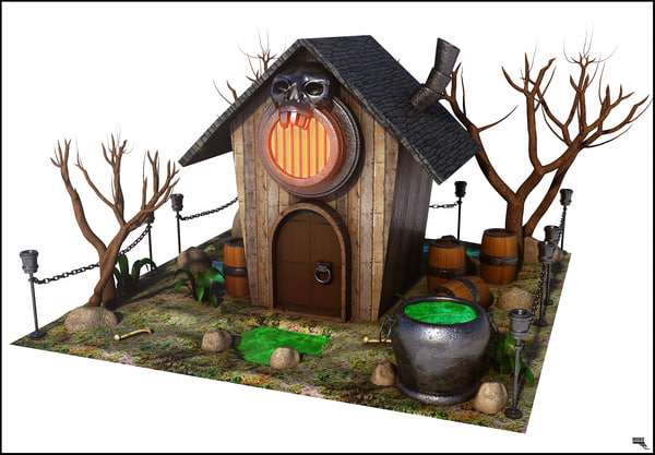 cartoon witch house 3d model