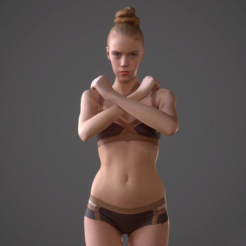 female realistic 3d obj