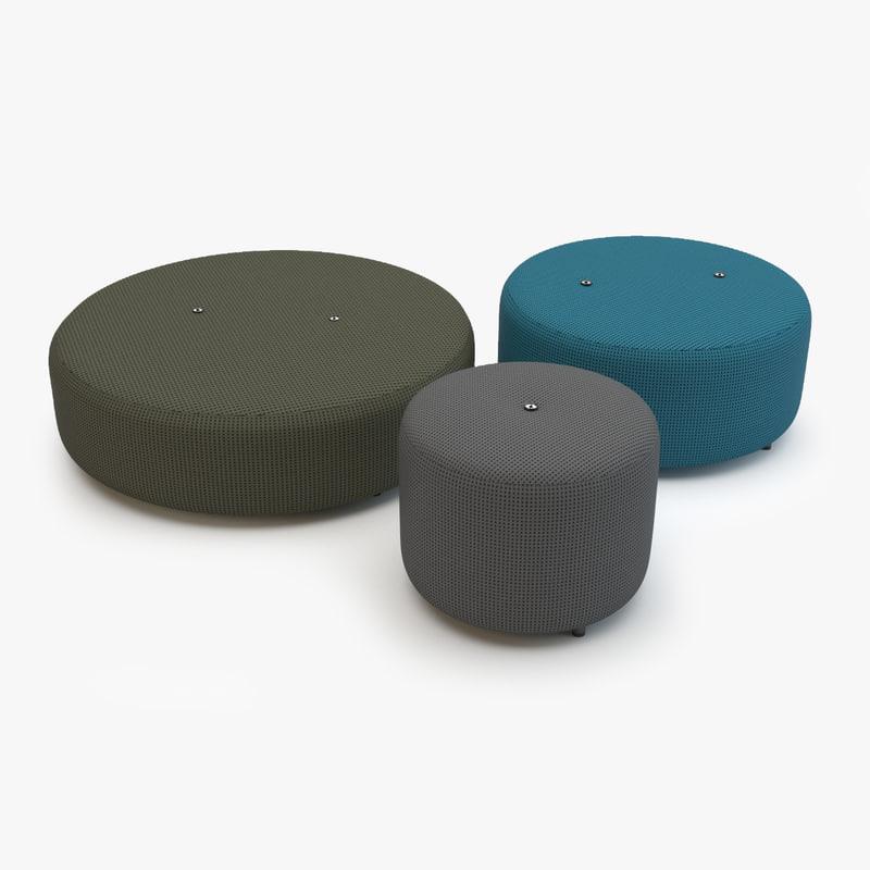 3d model roda double pouf