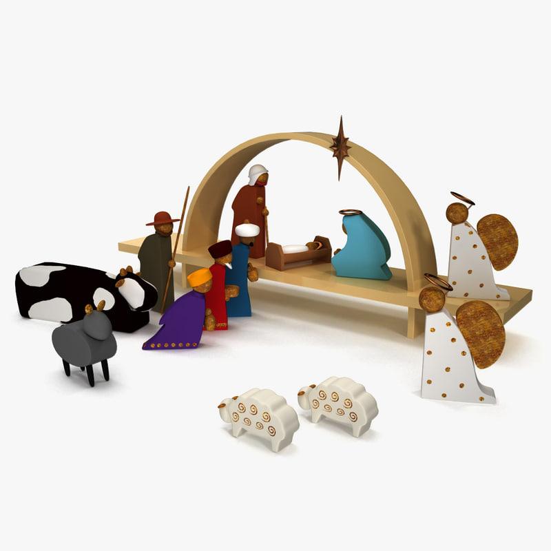 3d nativity set