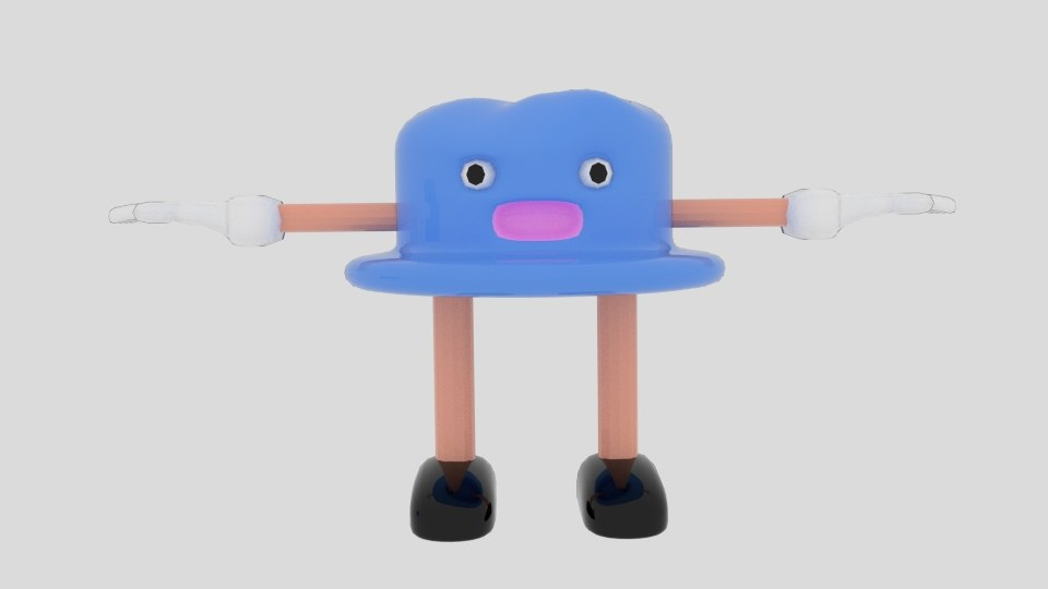 3ds cartoon hat character
