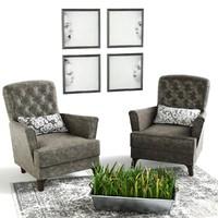3d chairs grass pot carpet